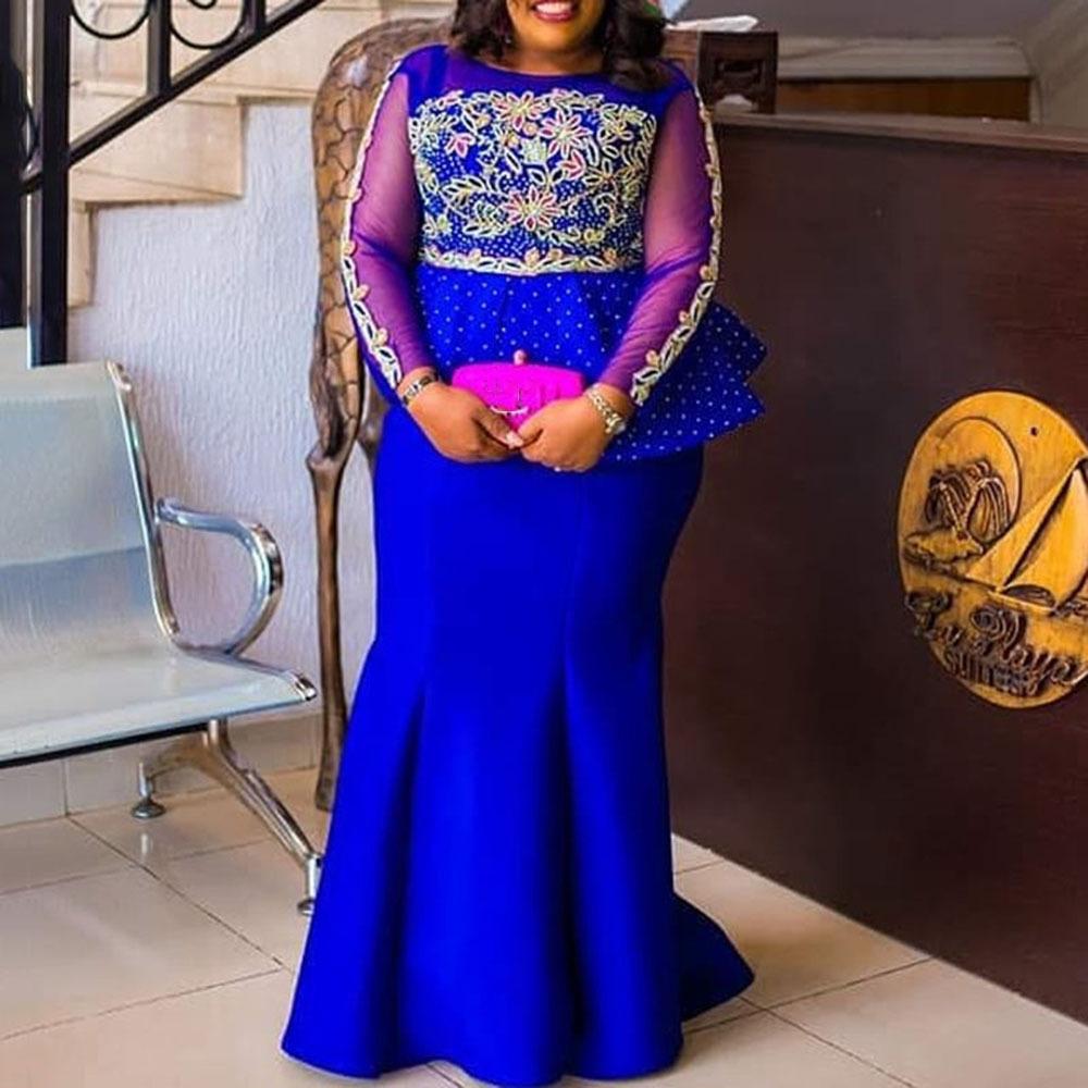 Nixe-Abend-Partei-Kleid 10 lang plus Größe XXL-10XL Mesh-Langarm Peplum  Rüschen Vestidos Afrika Frauen-Maxi-Kleid Eleganter MX10