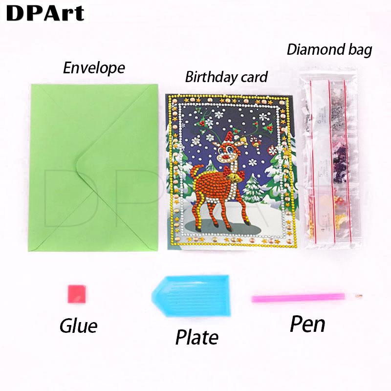 Diamant Peinture Bénédiction anniversaire Carte de voeux cadeau 5D ronde Drill Père Noël Joyeux Noël T200117