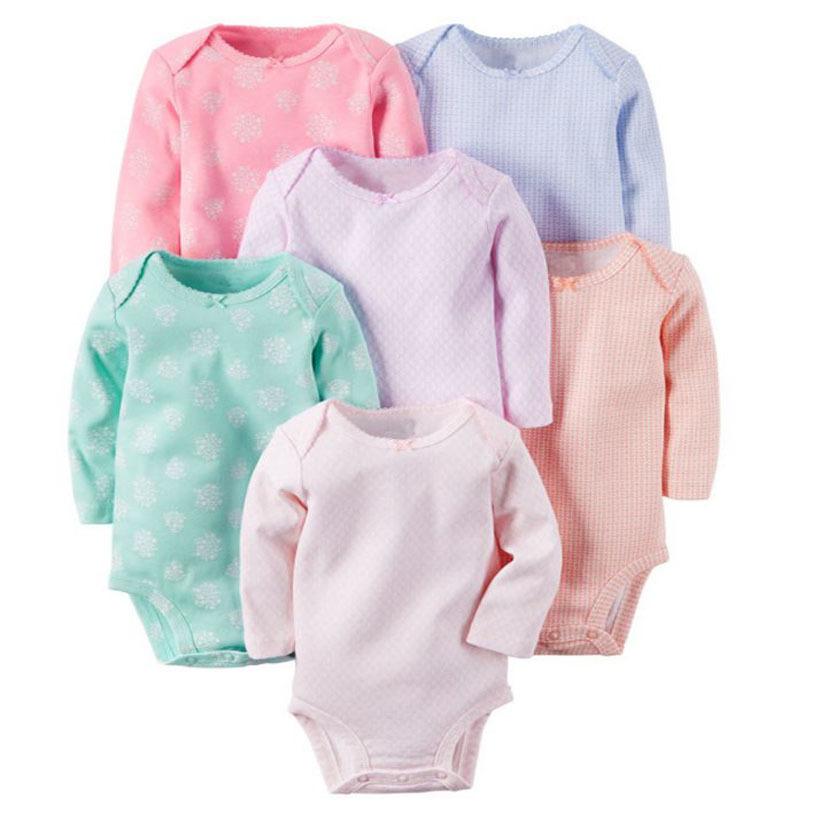 BABY GIRL CLOHTES,6PCS/LOT,long sleeve o-neck bodysuit cotton,baby bodysuit boy set,unisex newborn clothes,6-24M INFANT CLOTHING
