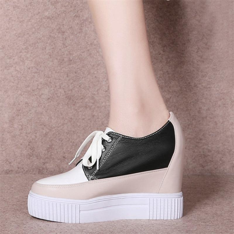 Women Wedge Hidden Heel Trainers Pumps Ladies Zip Breathable Sneakers Shoes Size