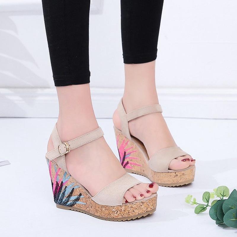 COOTELILI High Heels Women Summer Shoes Women Sandals Summer Shoes Women Open Toe Embroidery Beach Sandals 35-39 (6)