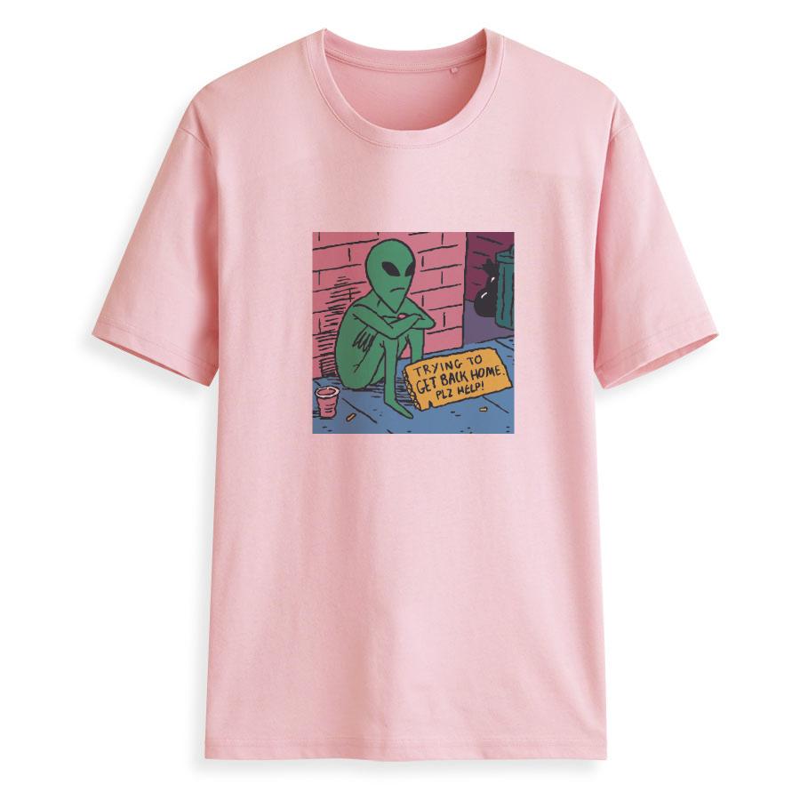 Hillbilly Cmk108 Solitário Superhero Alienígena Sentado Na Parede Aesthet Camisetas Engraçado de Algodão de Manga O-pescoço Harajuku T Camisas Das Mulheres J190427