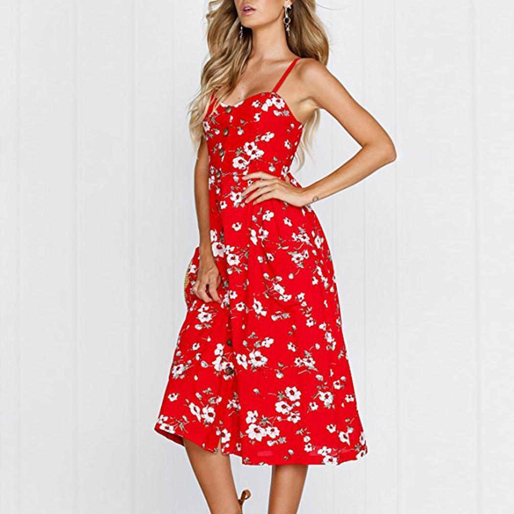 Vestido de bolsillo floral de la moda de las nuevas mujeres ocasionales de las correas de espagueti Vestido de las nuevas mujeres