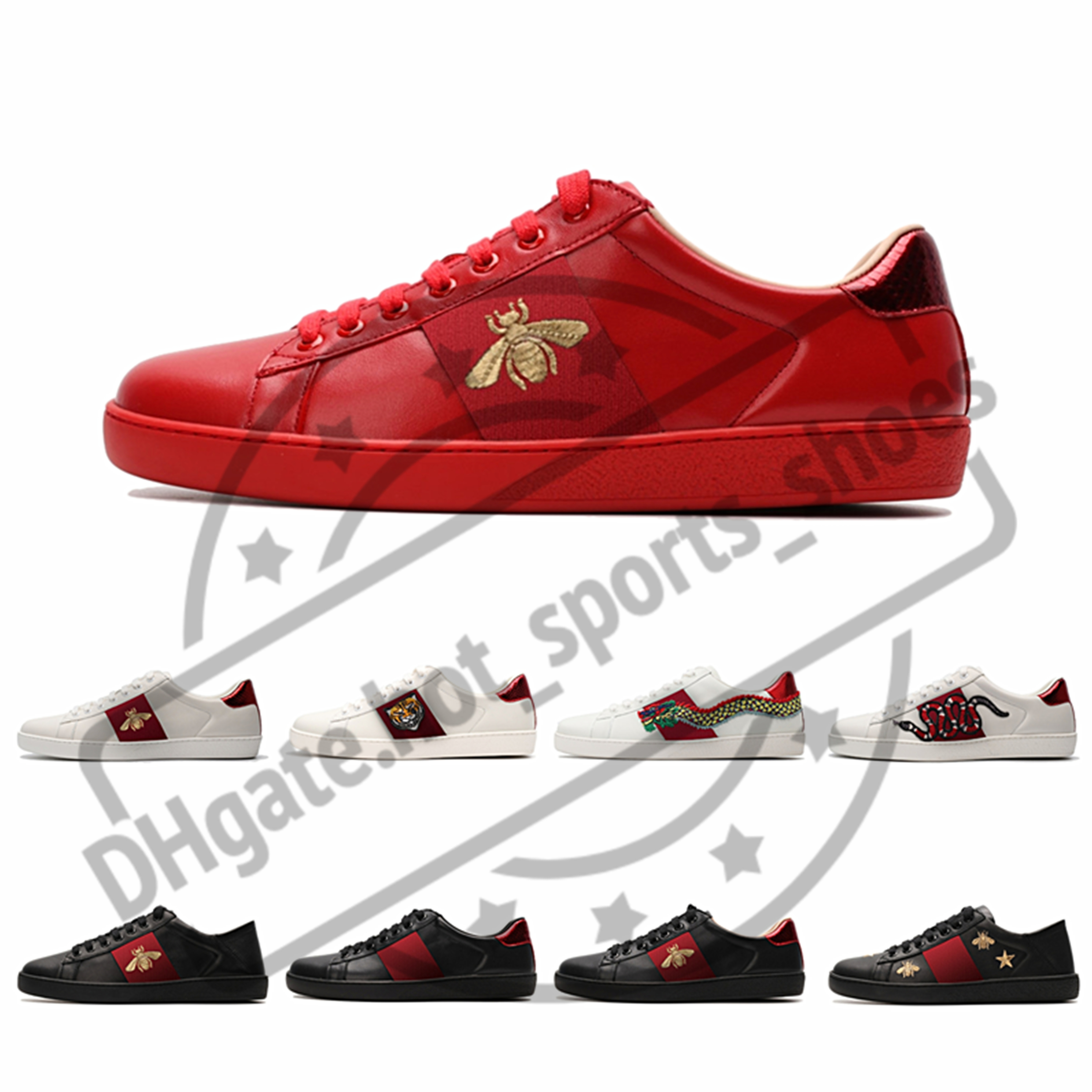 Original Kasten Modedesigner Schuhe der Männer mit hochwertigen Frauen Luxus Designer Turnschuh Mann lässig Ace Bee Schuhe Grün Rot Streifen Größe