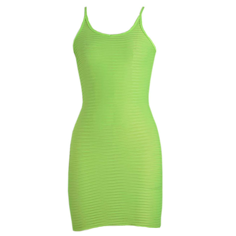 EssentialEurope and the United States explosion models women's 2019 fluorescent green vest strap dress summer