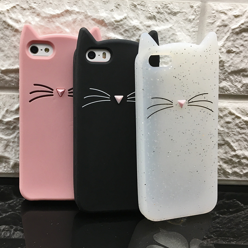 5 S Case Cover For Iphone 5 5S Cute silicone 3D Glitter Soft TPU Cat Phone Cases For apple iphone 5s 5 SE Fundas Coque For Girl (3)