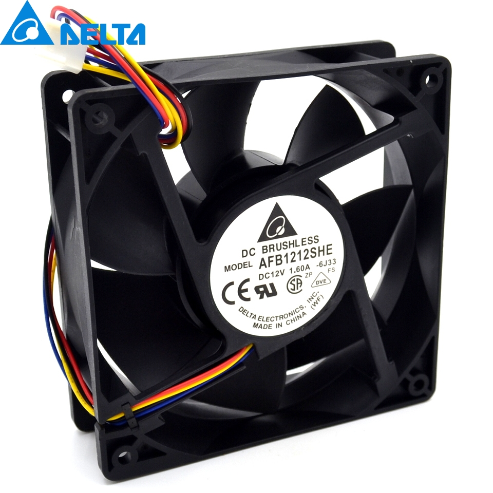 DELTA AFB1212SHE volume cooling fan DC12V 1.6A 120*120*38MM 2pin