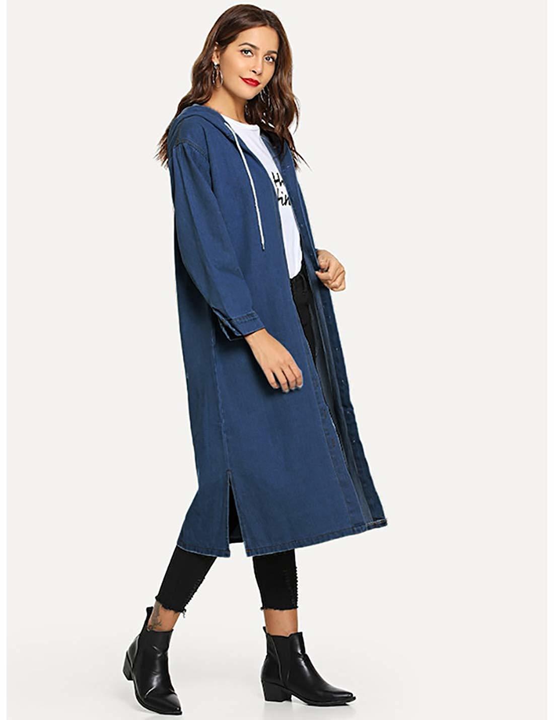 Yeokou Women's Distressed Autumn Loose Baggy Long Denim Jean Trucker Shirt Jacket Y200101