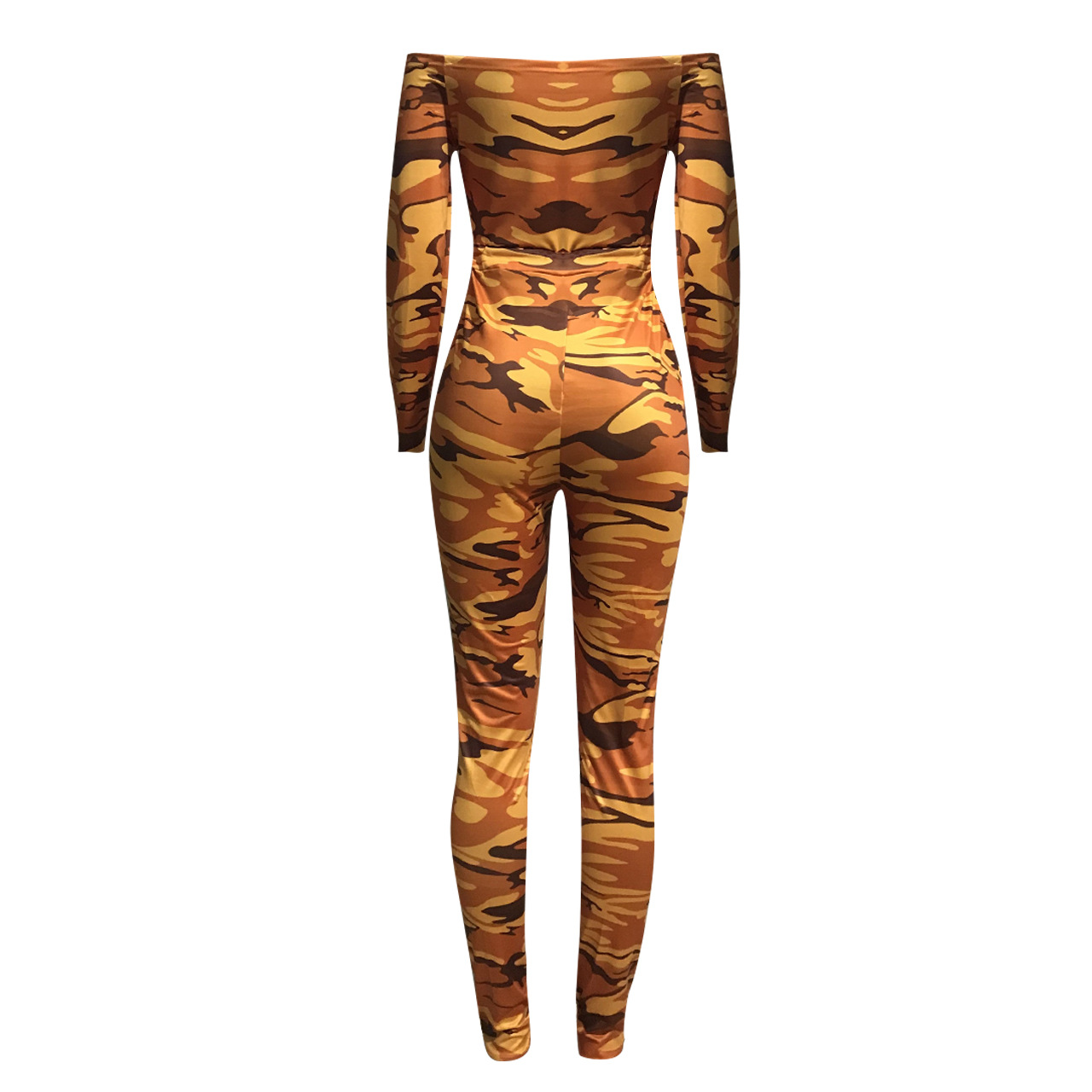 Women Unique Long Sleeve Camouflage Rompers Jumpsuit Loose Casual Herem Pants Long Sleeve Hip Pop Sport Slacks Plus Size S-XXL