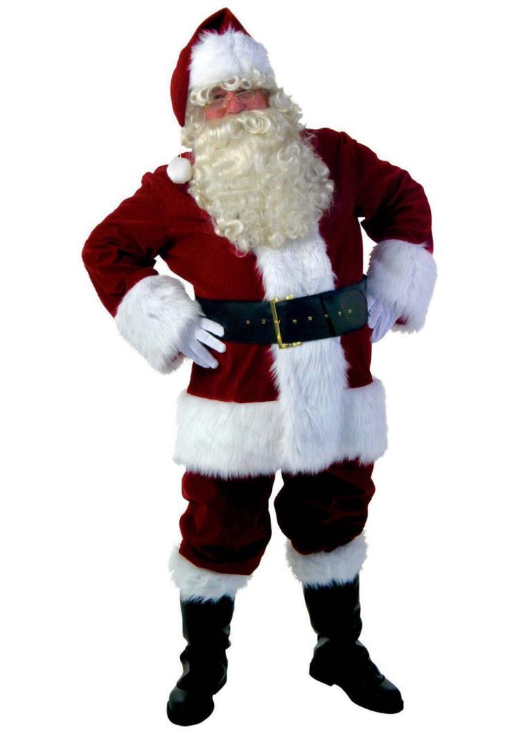 9 Piece Adult Deluxe Santa Claus Suit Xmas Father Fancy Dress Christmas Costume