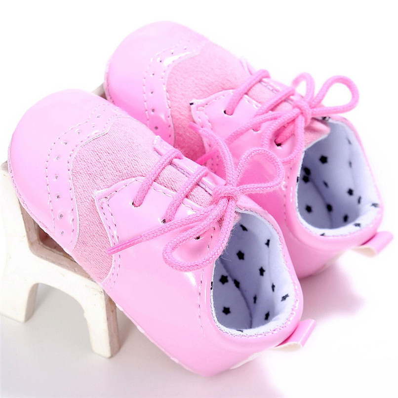 4 Color Baby Girls Shoes Fashion Newborn Infant Baby Girls Solid Lace-Up Shoes Soft Sole Anti-slip Sneakers First Walker M8Y04 (5)