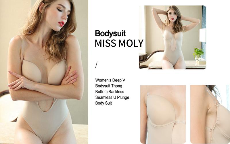 UK Women Backless Bodysuit U Plunge Underwear Thong Body Shaper G-string Bustier