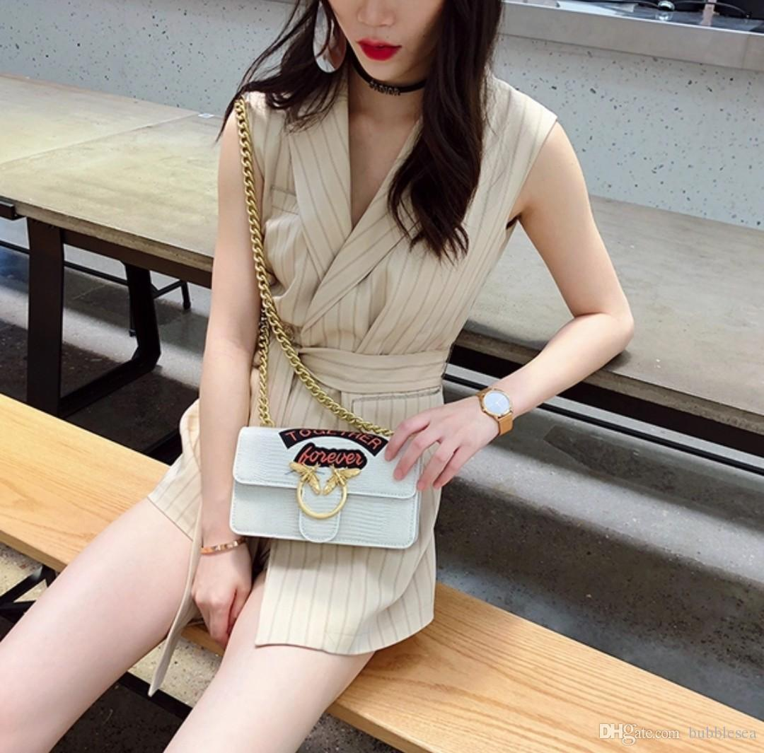 Crazy2019 Crocodile Chain Bag Attractive Wild Swallow Shoulder Bag Female Personality Bee Messenger Bag