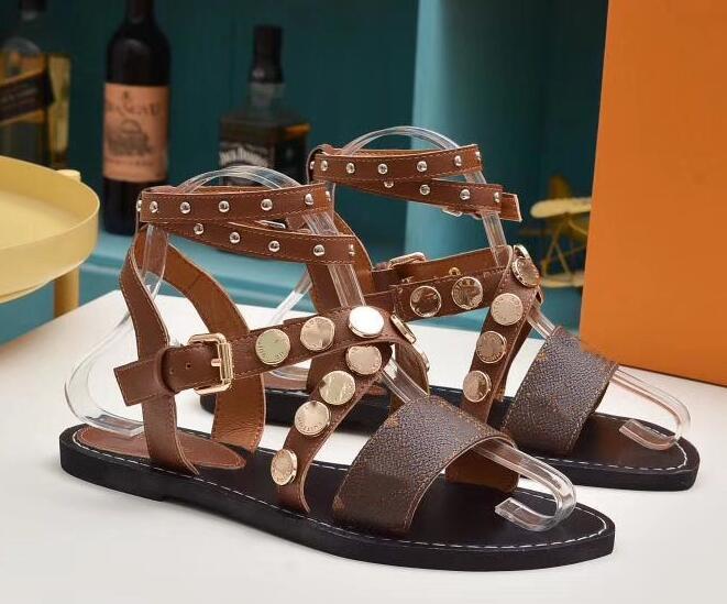 Sandalias Romanas Mujer Altas Planas Sandalia Roma Damas Pisos Rodilla Botas Altas Zapatos Sandalias Vestir Mujeres Verano 2019 Retro Gladiador