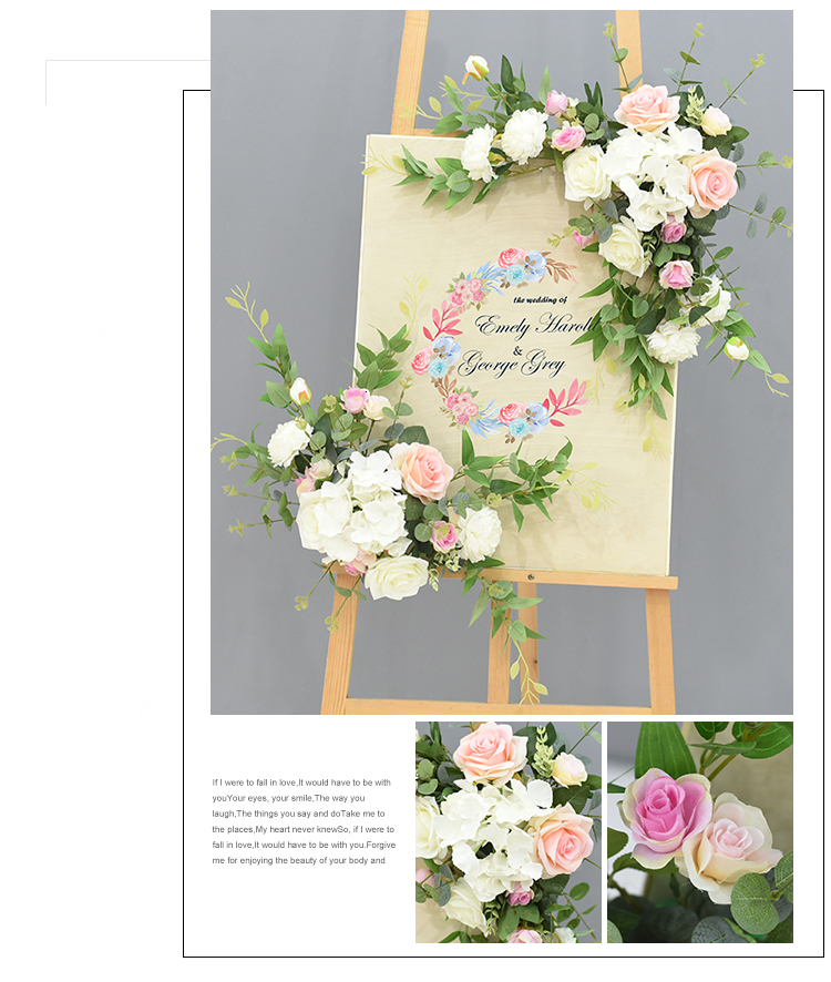 JAROWN Wedding Flower Row Welcome Sign Simulation Floral Hotel Creative Guide Decorations Photography Props Home Door Flower (10)