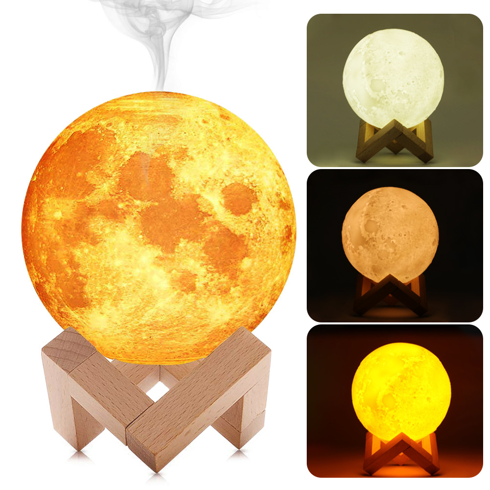 13cm Baoblaze L/ámpara De Luna 3D USB 880mL Humidificador De Aire Difusor De Aroma Luz Nocturna Sin Bater/ía