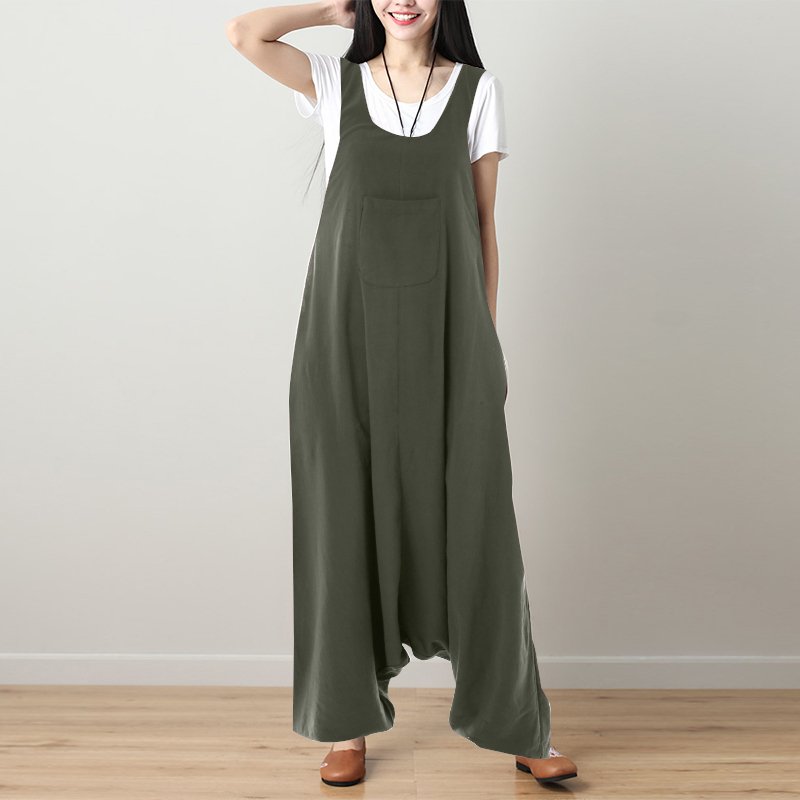 S 5XL Women Casual Solid Strappy Dungarees Vintage Cotton Linen Loose Long Rompers Jumpsuits