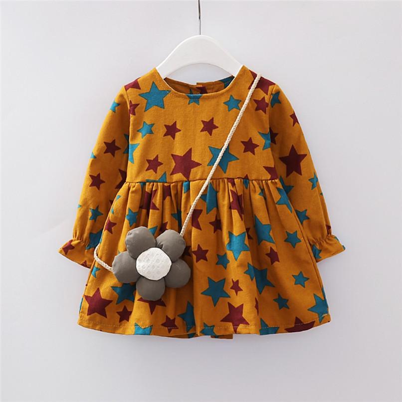 Girl Clothes Girls Dress Toddler Baby Girls Long Sleeve Star Printed Princess Dress+Cartoon Shoulder Bag Set girl costume D18 (10)