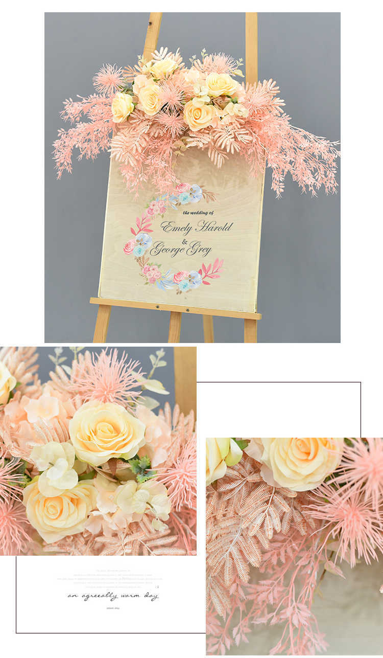 JAROWN Wedding Flower Row Welcome Sign Simulation Floral Hotel Creative Guide Decorations Photography Props Home Door Flower (3)