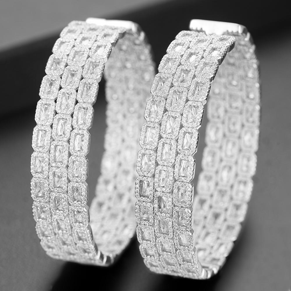 wholesale Charms Big Hoop Earrings For Women Luxury Elegant Cubic Zirconia Nigerian Wedding Bridal Womens Earrings in Jewely 2019
