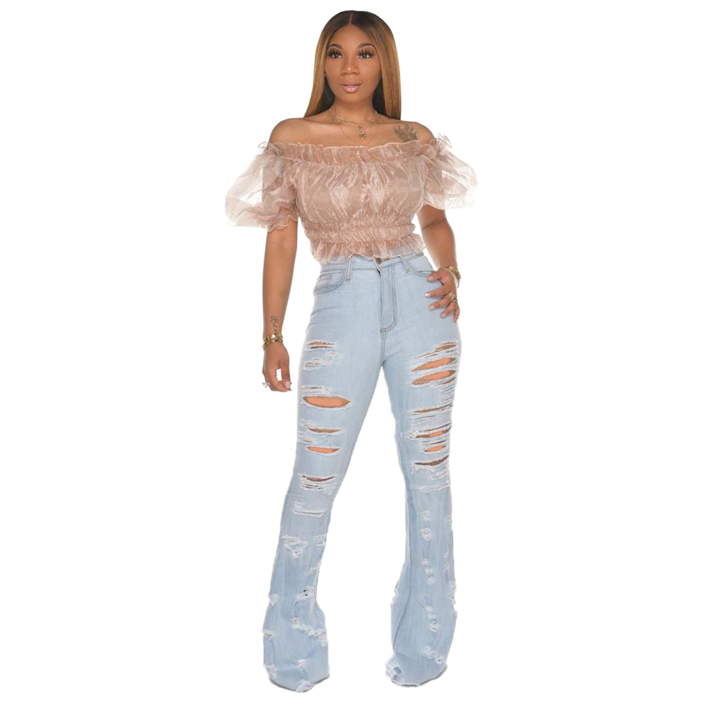 New Design fashion women Blue Color Jean Boot Cut Pants Casual Street Lady Long Denim Pants Sexy Club Wide Leg Jeans (23)
