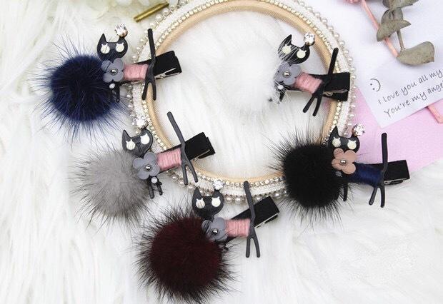 Boutique Korean Hair Ball Cute Black Cat Hair Clips Pin Accessories For Women Girls Children Hair Barrette Clip Hairgrip Hairpin