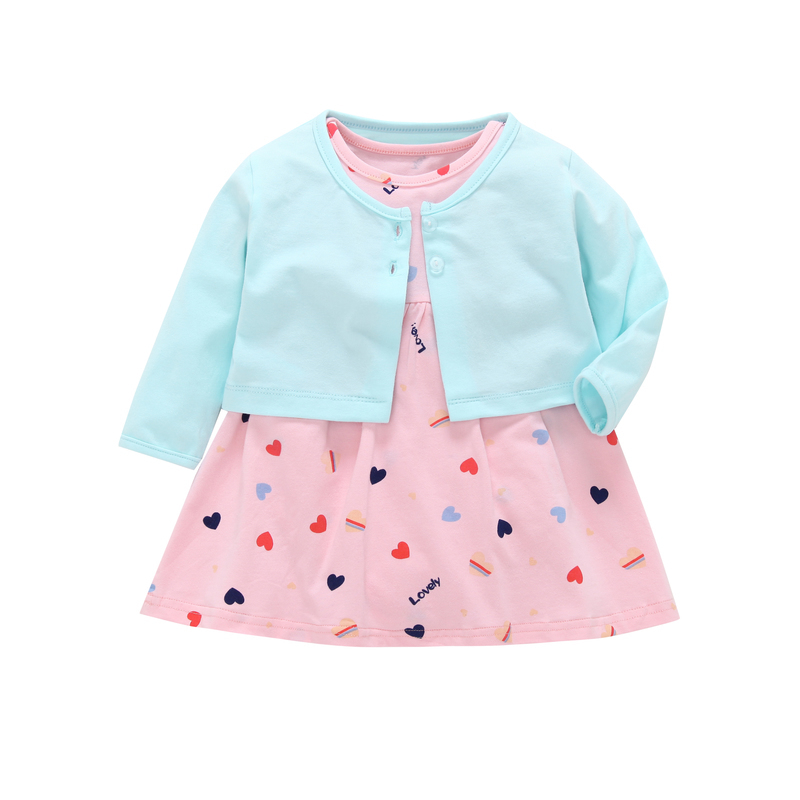 2018 fall infant baby girl clothes set 2PCS baby girl outfits long sleeve coat blue+cute loving heart dress romper newborn suit