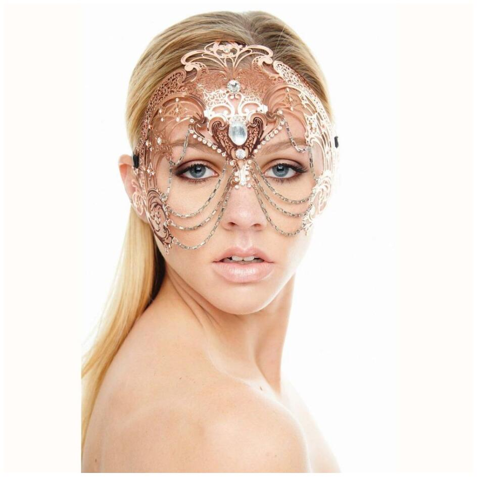 Womens Egyptian Chain Venetian Phantom Laser Cut Filigree Metal Masquerade Mask
