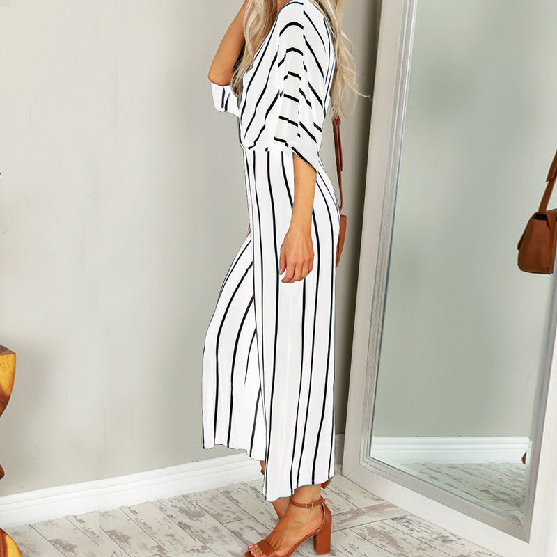 Zanzea Summer Elegant Women Striped Jumpsuits Ol Work Wide Leg Pants Casual Deep V-neck Short Sleeve Loose Rompers Q190508
