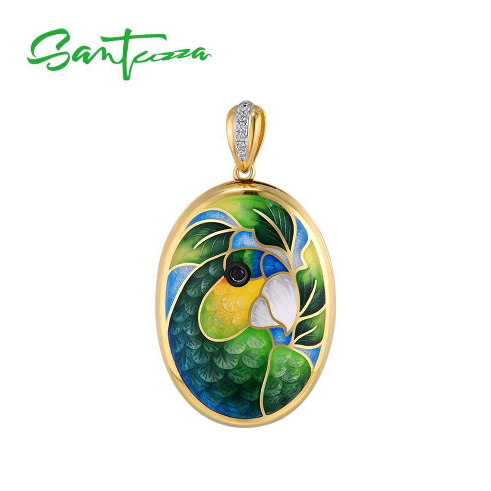 SANTUZZA pendentif en argent pour les femmes pur argent é émail Parrot oiseaux photo Médaillon Trendy Fine Jewelry HANDMADE