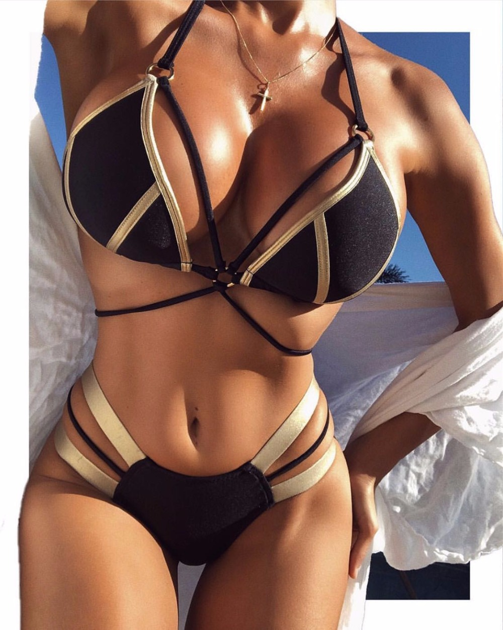 Yhui Bikini Set Halter Swimsuit Backless Bathing Suit Women Solid Black Bikini Brazilian Biquini Push Up Swimwear