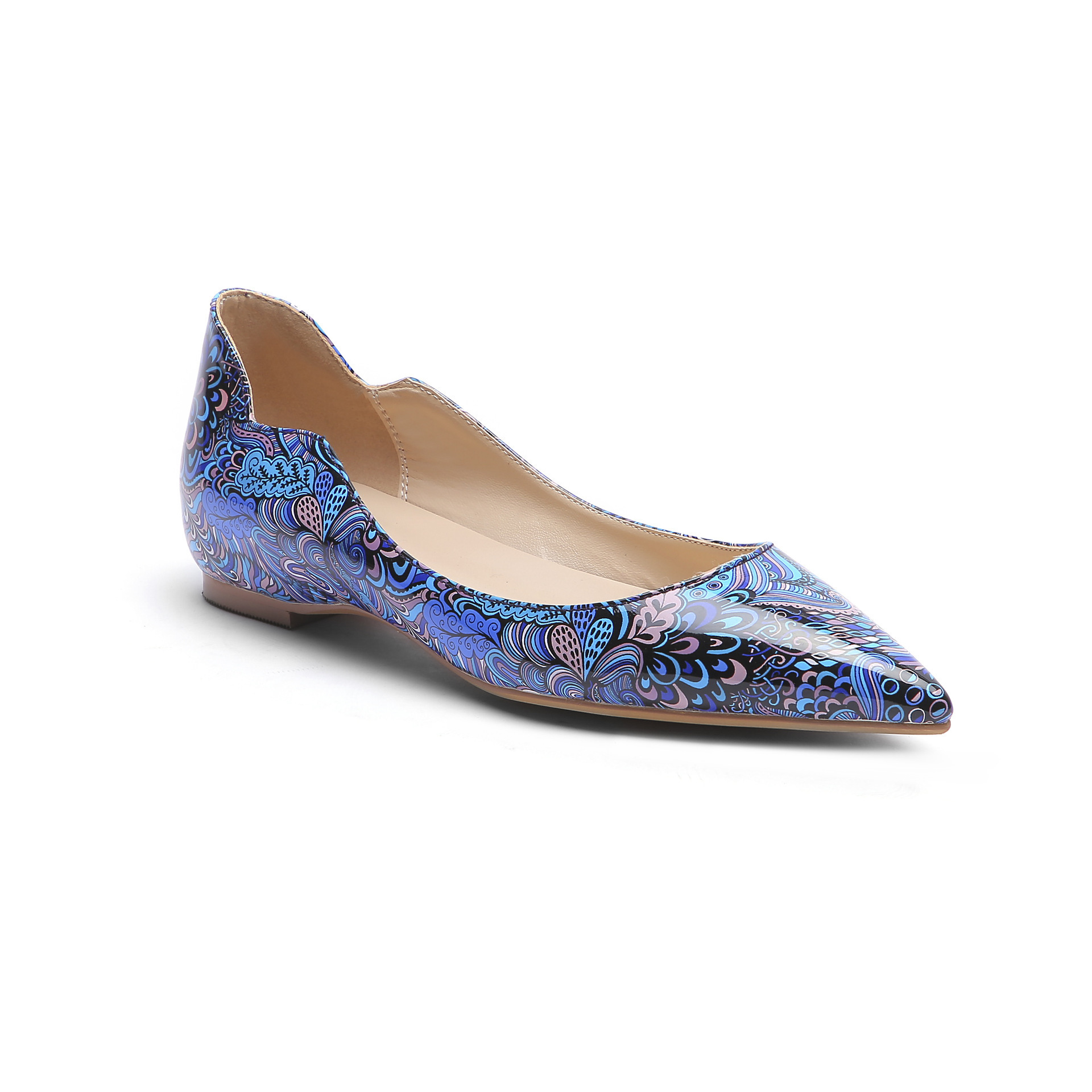 Hot2019 Level Sharp Year With Colour Decorative Pattern Patent Leather Ma'am Latest Fashion Single Shoe Nation Wind Will Code 45