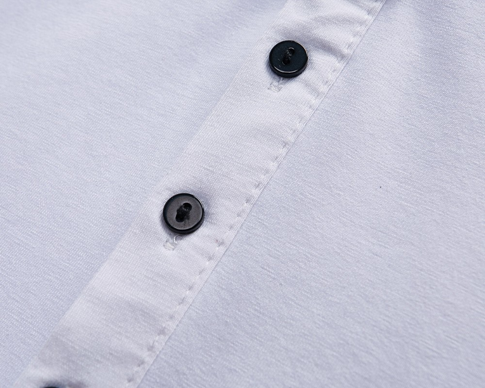 New Lapel Short Sleeve Black Side Collar Buttons Men's Essential Summer T-Shirt High Quality Fabric