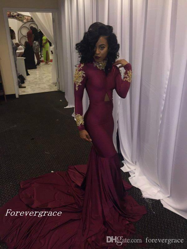 2017 Fashion Women Wine Red Prom Dress Sexy South African Gold Appliques Burgundy Long Formal Evening Party Gown Custom Made Plus Size