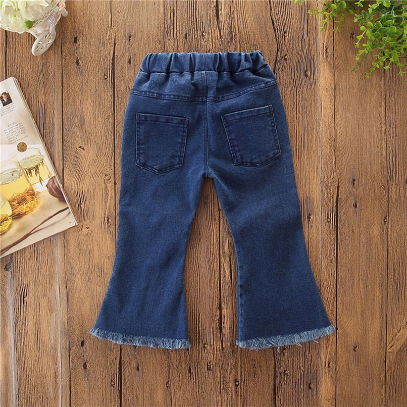 Winter Kids Girls Clothes Girls Pants Toddler Children Kids Baby Girls Floral Flare Denim Pants Casual Trousers Clothes S25#F (6)