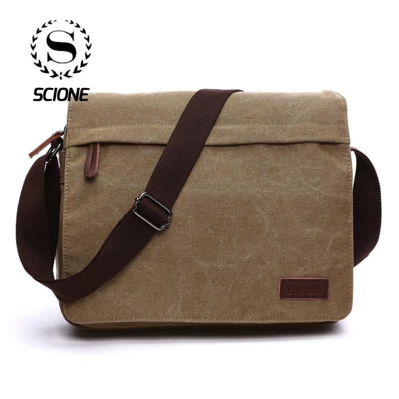 DADDYY Mens Bag Canvas Messenger Bag Shoulder Diagonal Portable Leisure Bag British Retro Bag Tide Bag Backpack,Khaki