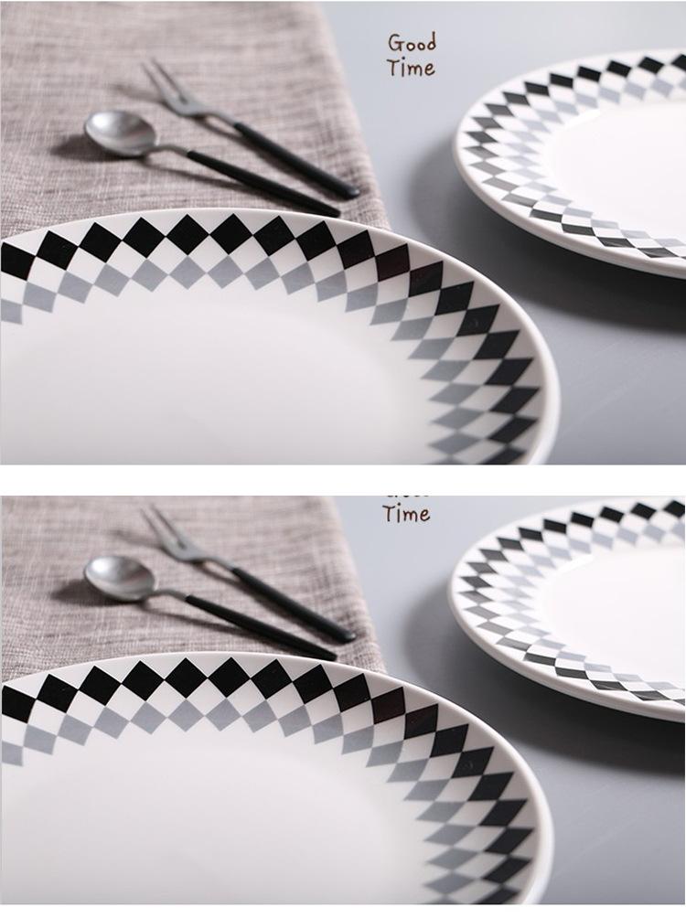 Керамическая посуда 8 дюймов Creative Western Dish Бытовая черный серый квадрат мелкой посуды 6 упакованных коробок для продажи