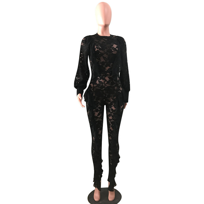 Long Sleeve Sexy Sheer Black Lace Jumpsuit Bodysuit Women See Through Ruffle Party Club Wear One Piece Bodycon Jumpsuit Rompers Y19071701