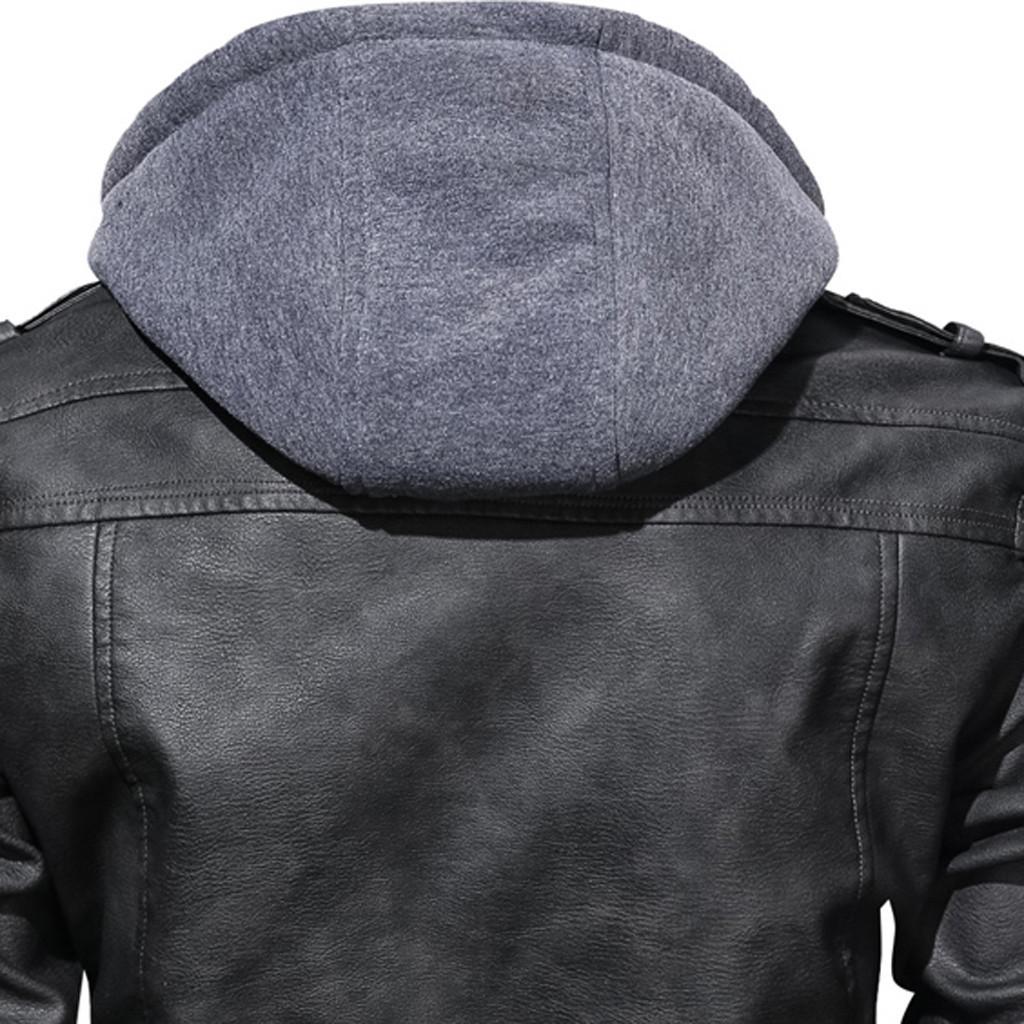 Motosiklet Ceketler Erkek gevşek Erkekler Suni Deri Ceket Sonbahar Kış Hoodie Şapka Ayrılabilir Slim Fit Deri T200117 Coats 10.10 kapüşonlu