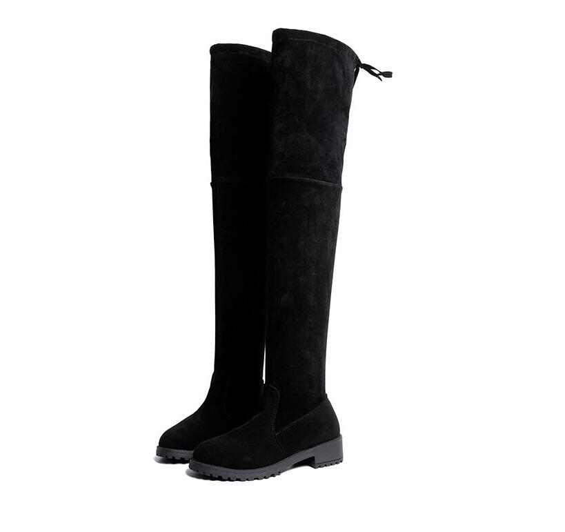 Hot Sale-r The Knee snow Boots women Lace Up low Heels dress Thigh High Boots shoes Winter women Boots mujer &581