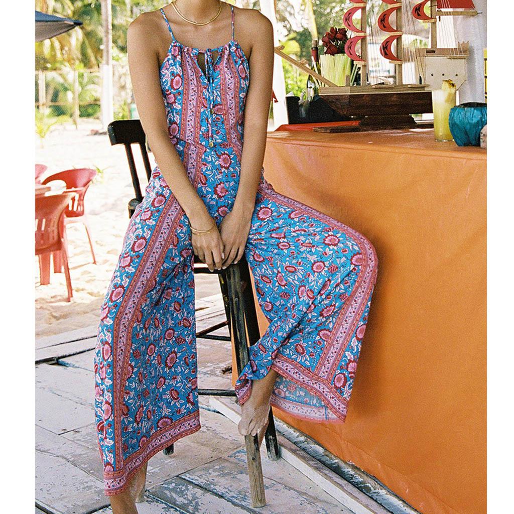 Rompers Womens Jumpsuit Sexy ladies Blue Plus Size Print Bohemia Camis Long Loose Jumpsuit Combishort Femme