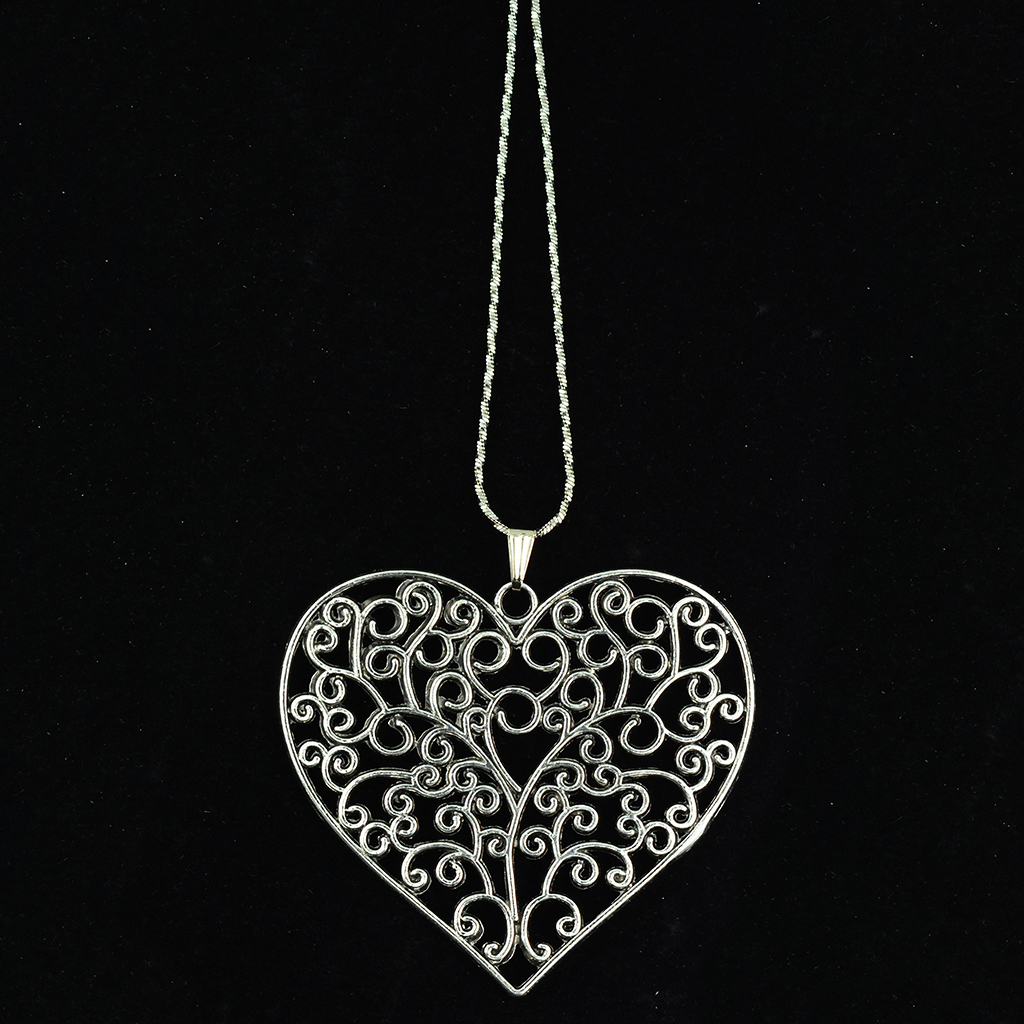 16 PCS Tibetan Silver Extra Large Filigree Heart Charms Zinc Alloy Pendants, TWO Different Shapes