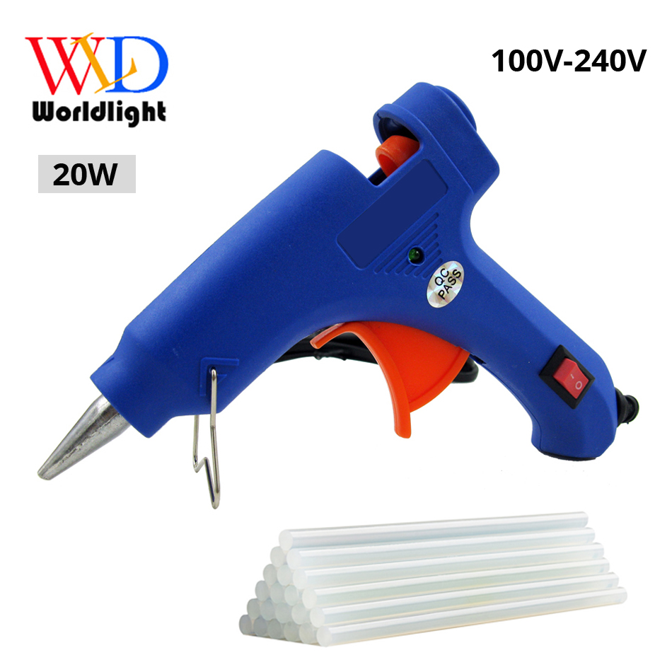 Hot Sell Melt Glue Gun with 20pc 7mm Glue Stick Industrial Mini Gun Thermo