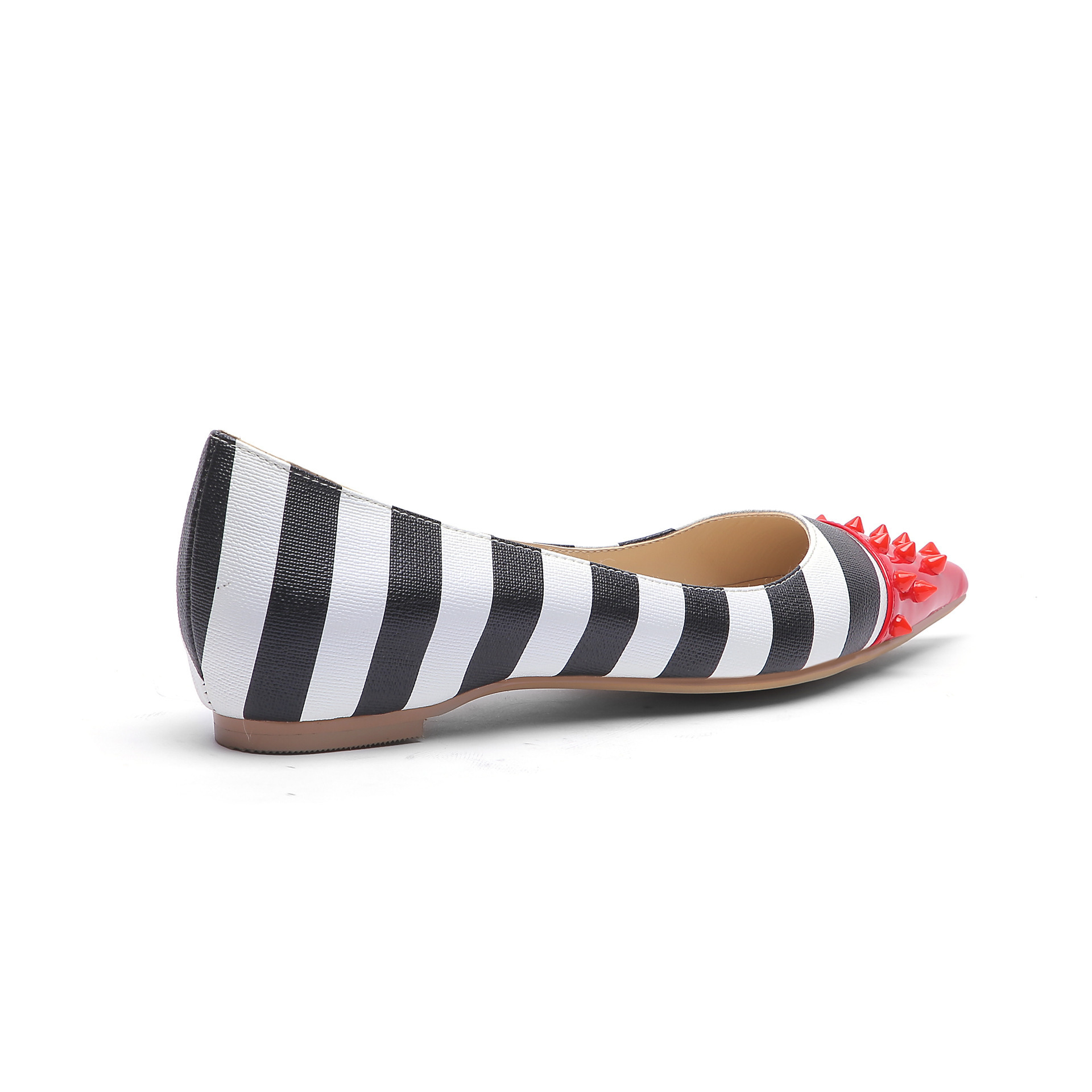 Hot2019 Breeze Summer Rivet Colour Black And White Smoothing With Concise Ma'am Latest Fashion Single Shoe Will Code 45