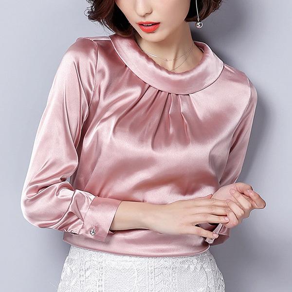 2018 New Spring Korean Women Vintage Blouse Folds Turn-down Collar Long Sleeve Satin Shirt Casual Plus Size Office Ladies Camisa