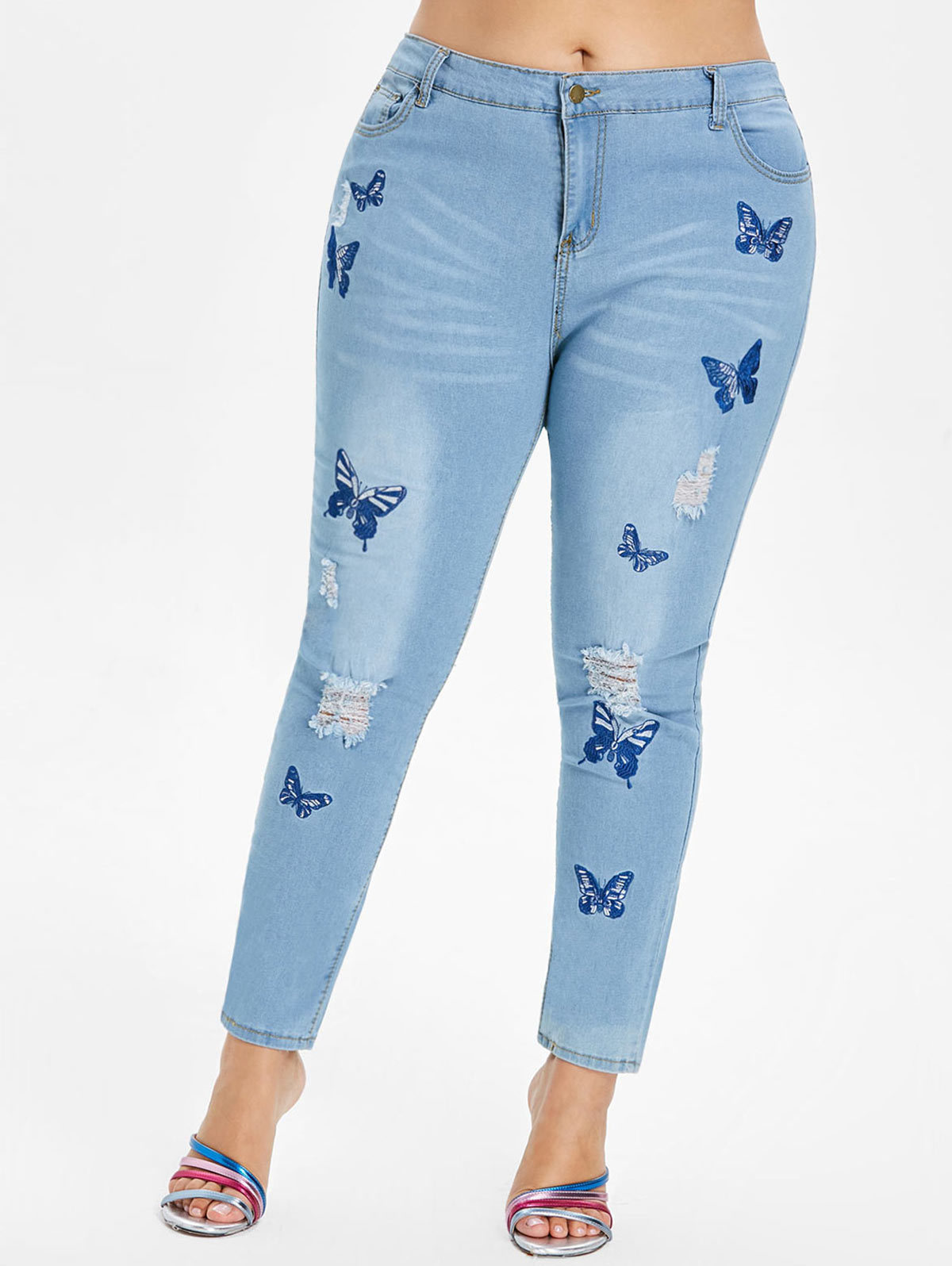 Wipalo Plus Size 5xl Butterfly Distressed Embroidered Jeans Women Pant Skinny High Waist Pencil Pants Denim Jean Ladies Trousers J190628