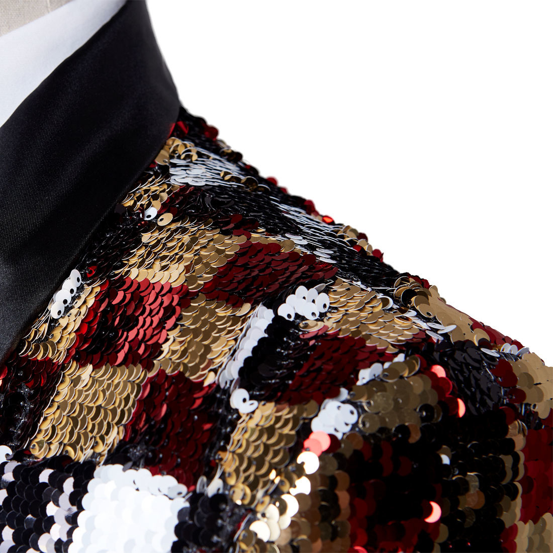 Pyjtrl Brand New Men Double-sided Colorful Plaid Red Gold White Black Sequins Blazer Design Dj Singer Suit Jacket Fashion OutfitQ190330