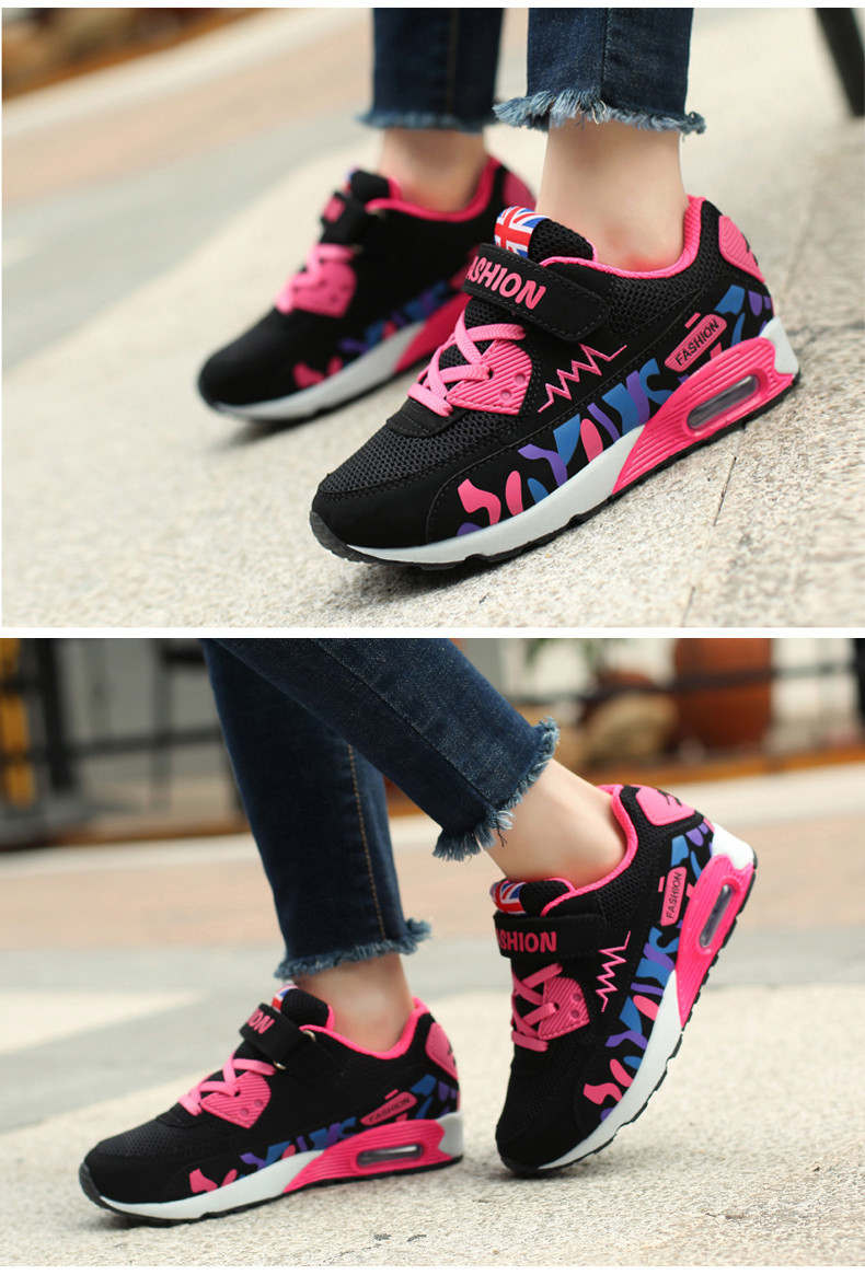 2019 Children Casual Shoes For Girls Running Comfortable Elastic Air Cushion Shoes Fashion Kids Sneakers Breathable Sport Shoes (9)