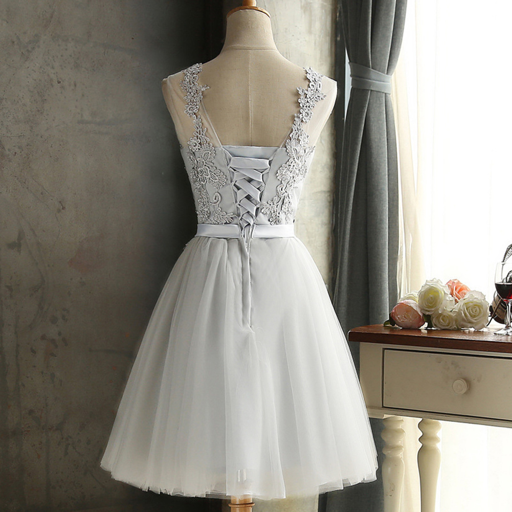 Women Lace Dress Embroidered Mesh Tulle Slim Elegant Lady Princess Bridesmaid Wedding A-Line Party Dresses female Plus Size 3XL Q190425