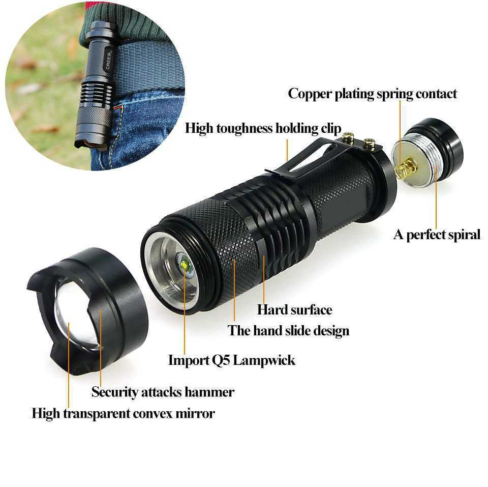 New Mini Bicycle Light 7W 2000 Lumens 3 Mode Q5 LED cycling Front Bike lights Lamp Torch Waterproof ZOOM flashlight with clip